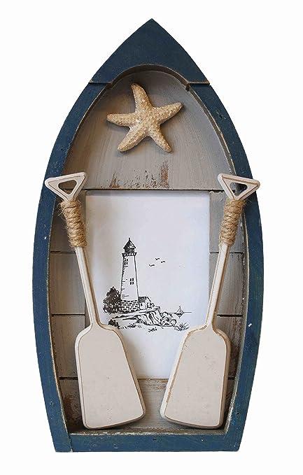 Marco Fotos Madera Barco Náutico Decoración Pala Estrella de Mar Faro 3x15x27cm.