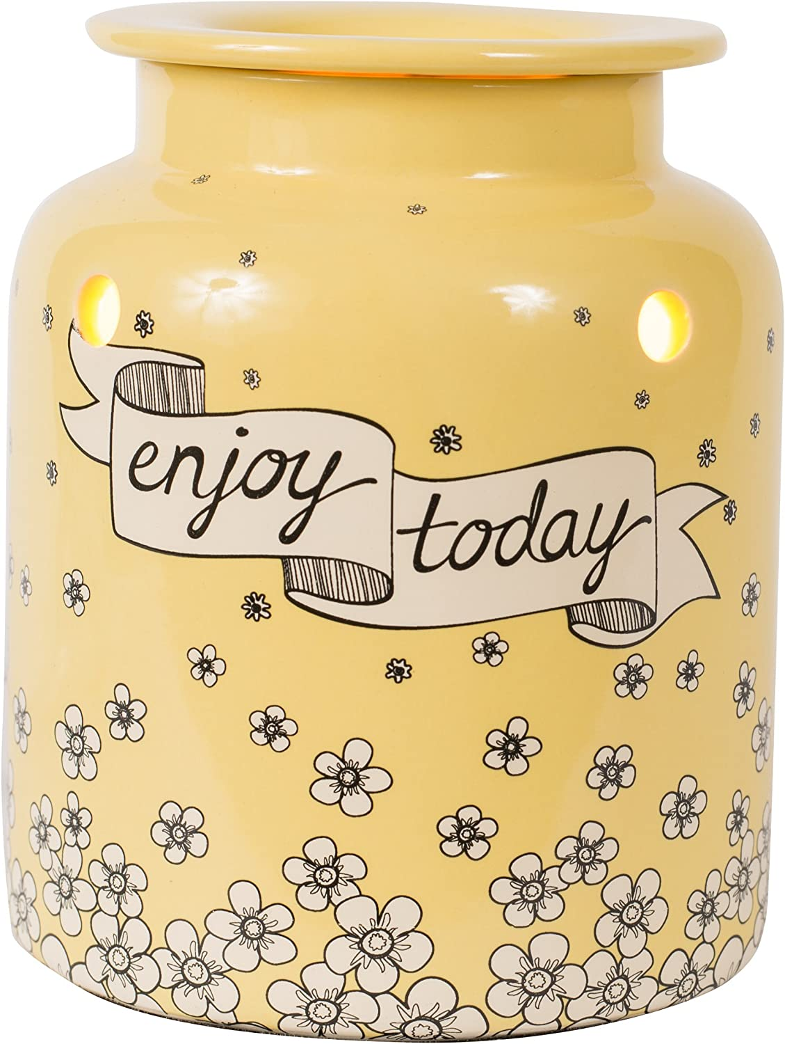 Scentsationals Enjoy Today Scented Wax Warmer - Happy Flower Fragrance Wax Cube Melter - Electric Wickless Wax Burner Home Air Freshener (Yellow)