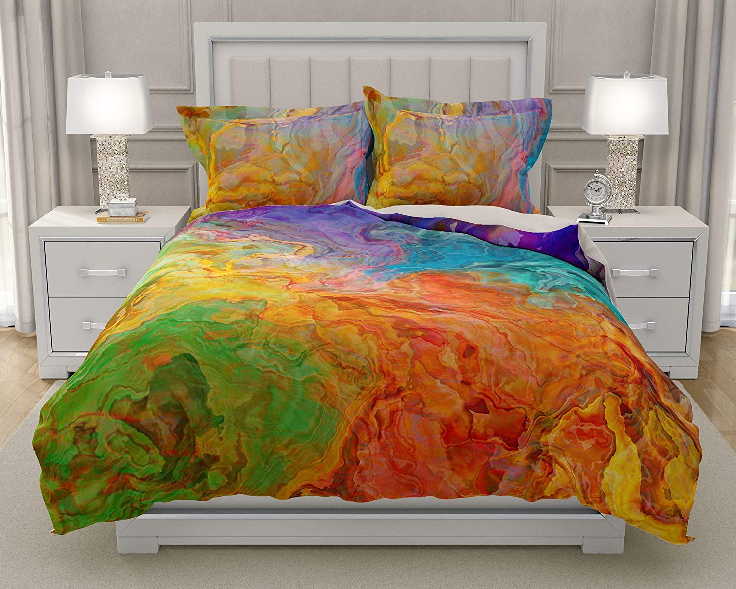 Image of Home and Kitchen King or Queen 3 pc Duvet Cover Set with abstract art, Carnival