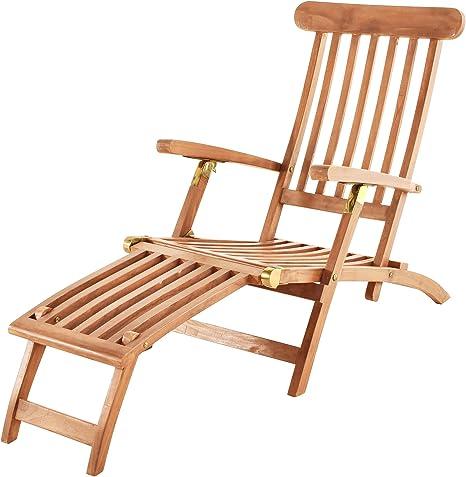 Sam Teak Holz Sonnenliege Puccon Verstellbare Gartenliege Klappbar Ideal Fur Balkon Terrasse Und Garten Amazon De Kuche Haushalt