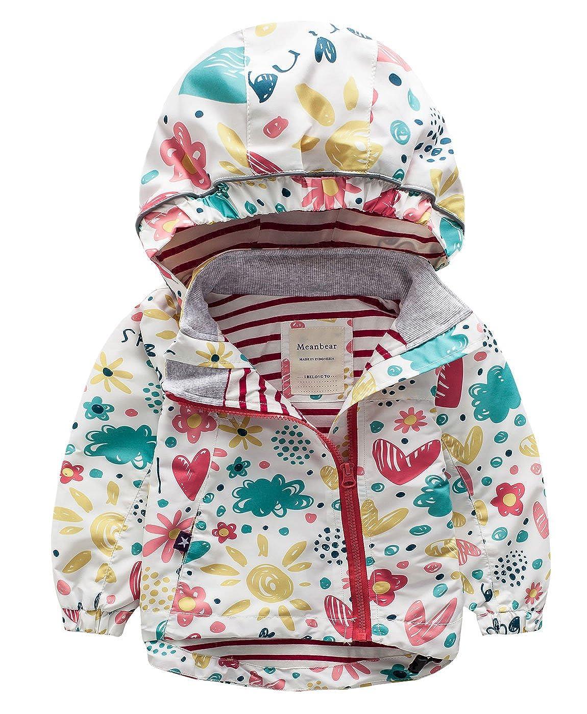 Meanbear - Chaqueta Outdoor con Capucha Sombrero para Niños Resistente a Agua Lindo Estampado Floral Abrigo Invierno Otoño: Amazon.es: Ropa y accesorios