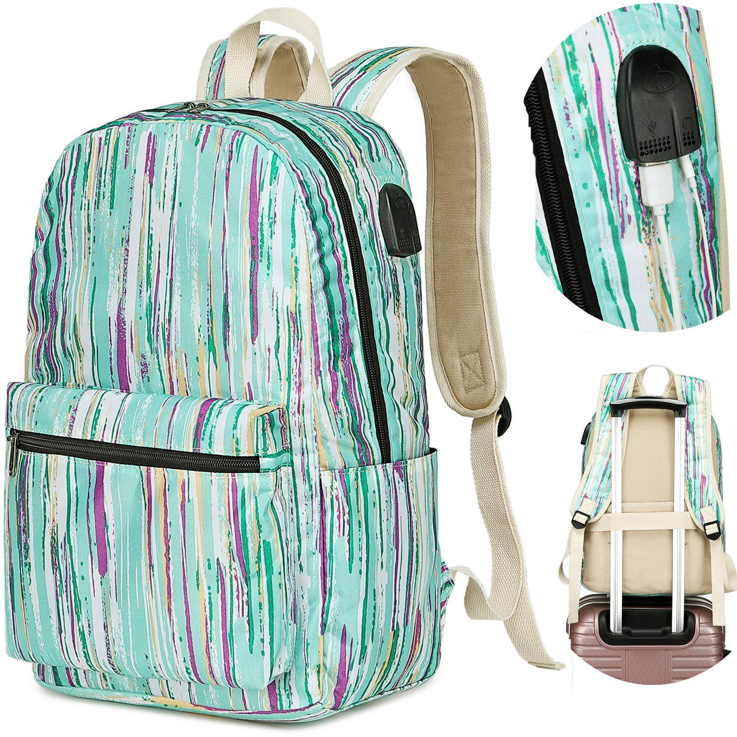 Girls Travel Laptop School Backpack Women College Bookbag 15.6 inch USB Daypack With Trolley Case Slot Green-0056