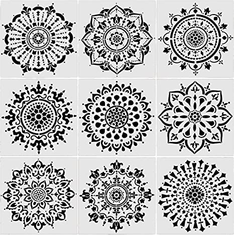 6 x 6 inch Mandala Painting Drawing Reusable Stencils Set of 9 Laser Cut Painting Template for DIY Stones Floor Wall Tile Fabric Wood Art/&Craft Supplies