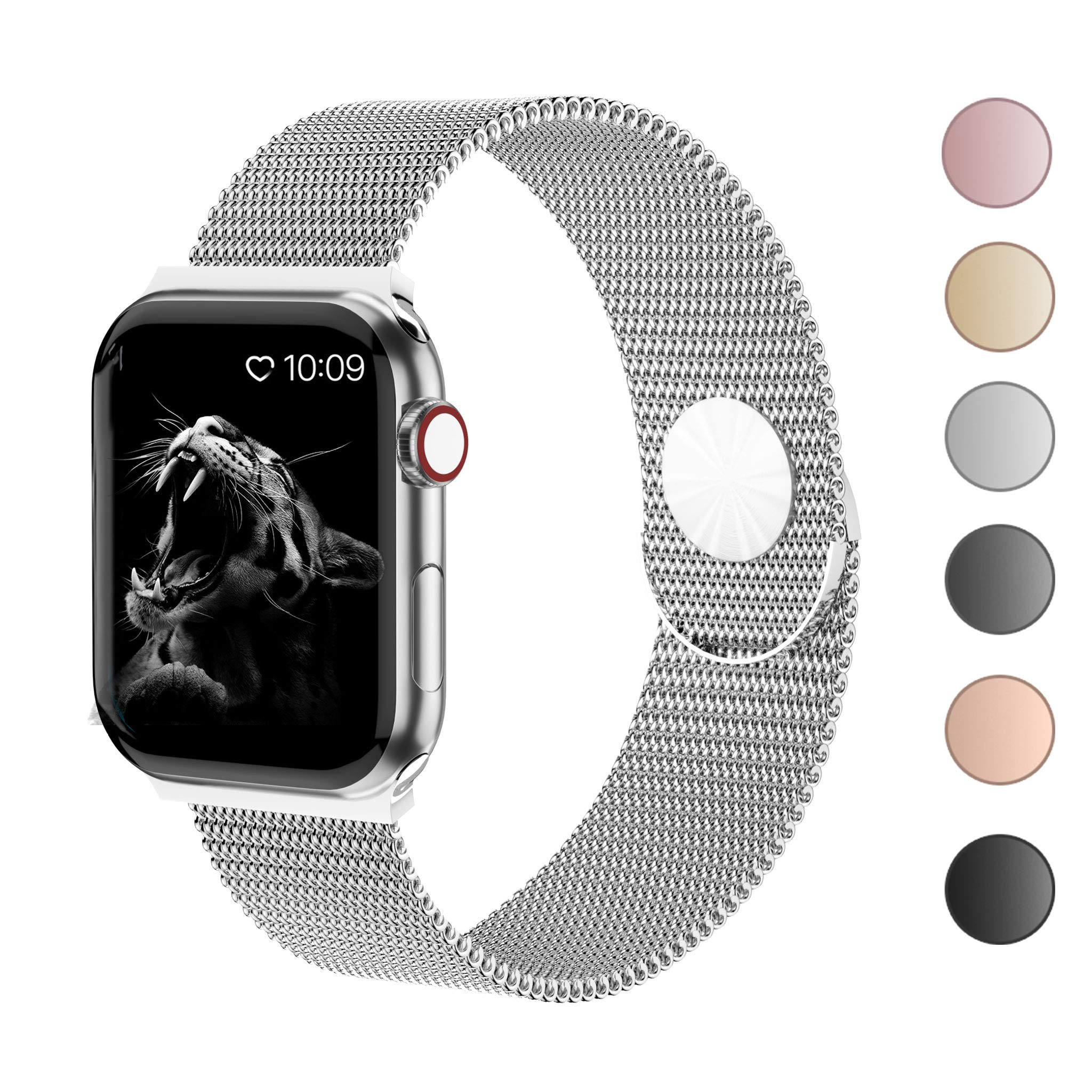Cocos Compatible with Apple Watch Band 38mm 40mm 42mm 44mm,Stainless Steel Mesh Loop for iWatch Bands Women Men Series 4 3 2 1 by Cocos