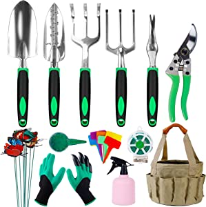 Hausse Garden Tool Set, 42 Pcs Stainless Steel Hand Tool Kit, Extra Succulent Tools Set, Heavy Duty Outdoor Gardening Work Set with Ergonomic Handle, Durable Storage Tote Bag, Gardening Tools