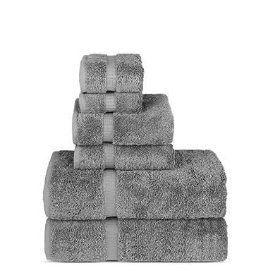 Luxury Spa and Hotel Quality Premium Turkish Cotton 6-Piece Towel Set (2 x Bath Towels, 2 x Hand Towels, 2 x Washcloths, Gray)
