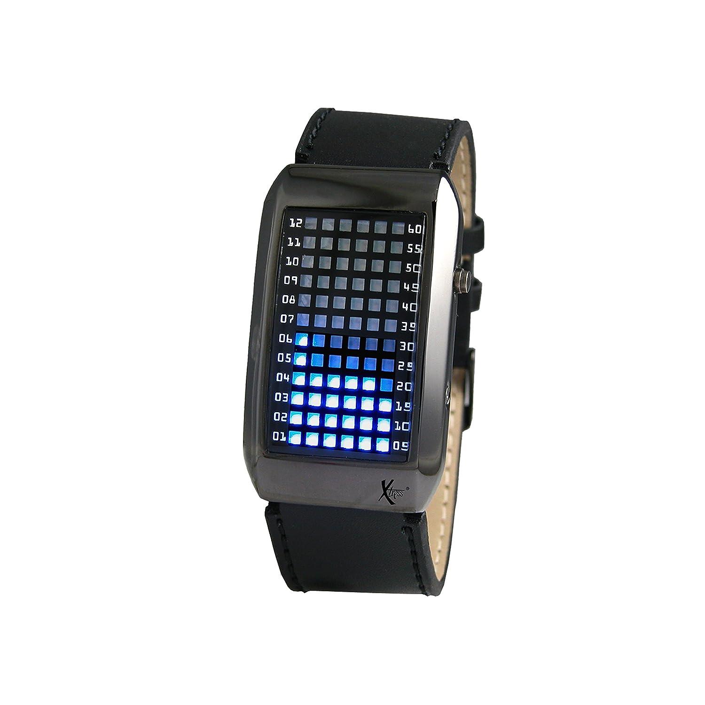 Xtress Reloj Binario para Hombre de Cuarzo con Correa en Cuero XHA1025: Amazon.es: Relojes