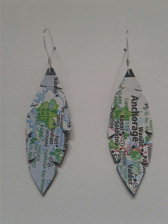 Mini Book Cover Earrings Repurposed Bike Tube Jewelry