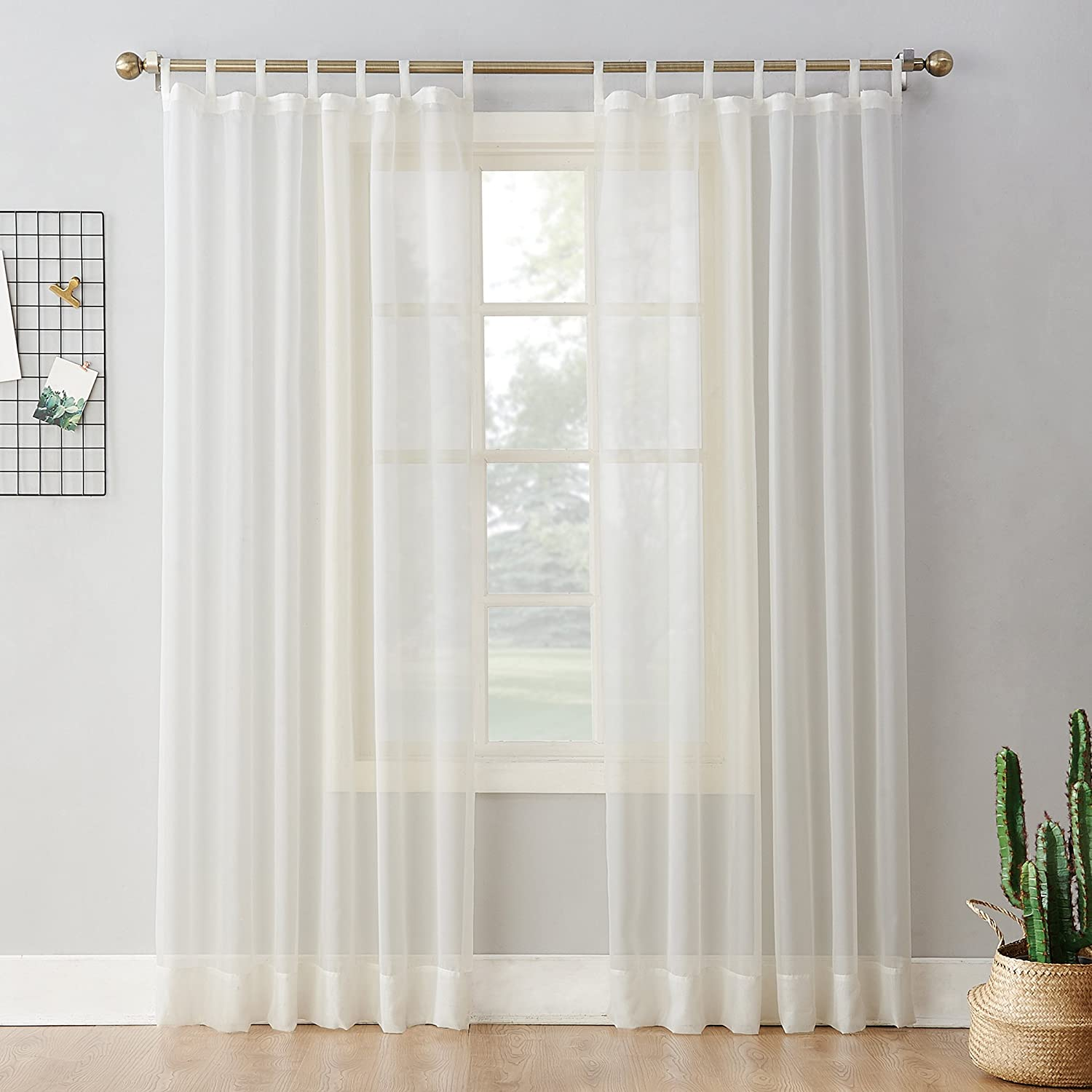 No 918 52453 Emily Sheer Voile Tab Top Curtain Panel 59 X 84 Eggshell Home Kitchen