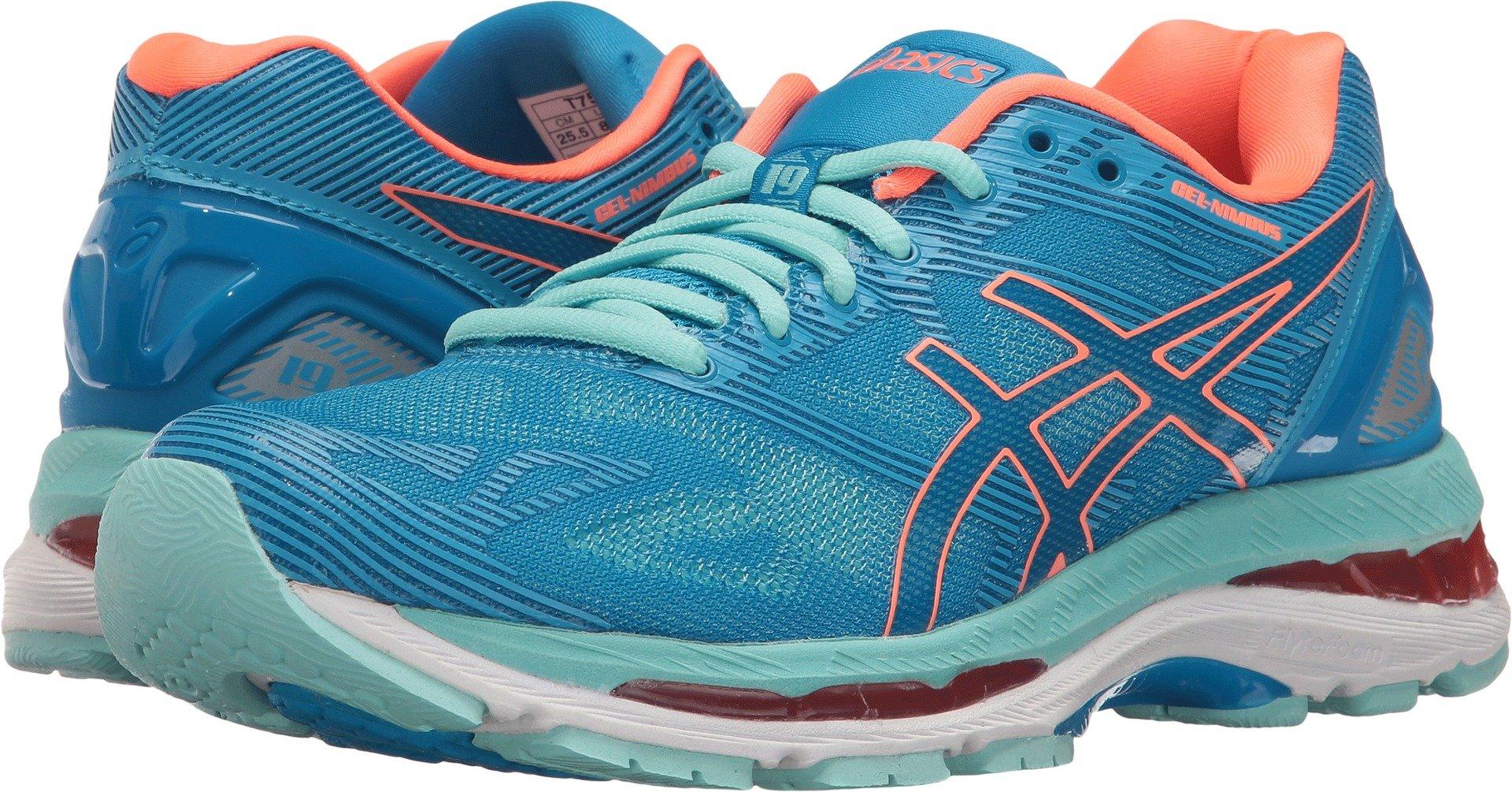 ASICS Women's Gel-Nimbus 19 Running Shoe, Diva Blue/Flash Coral/Aqua Splash, 8.5 M US