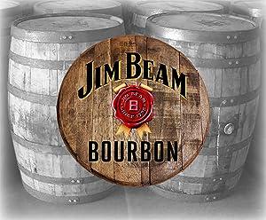 Home Bar Decor Jim Beam Bourbon Gold Ribbon Barrel Lid Wood Wall Art Kentucky