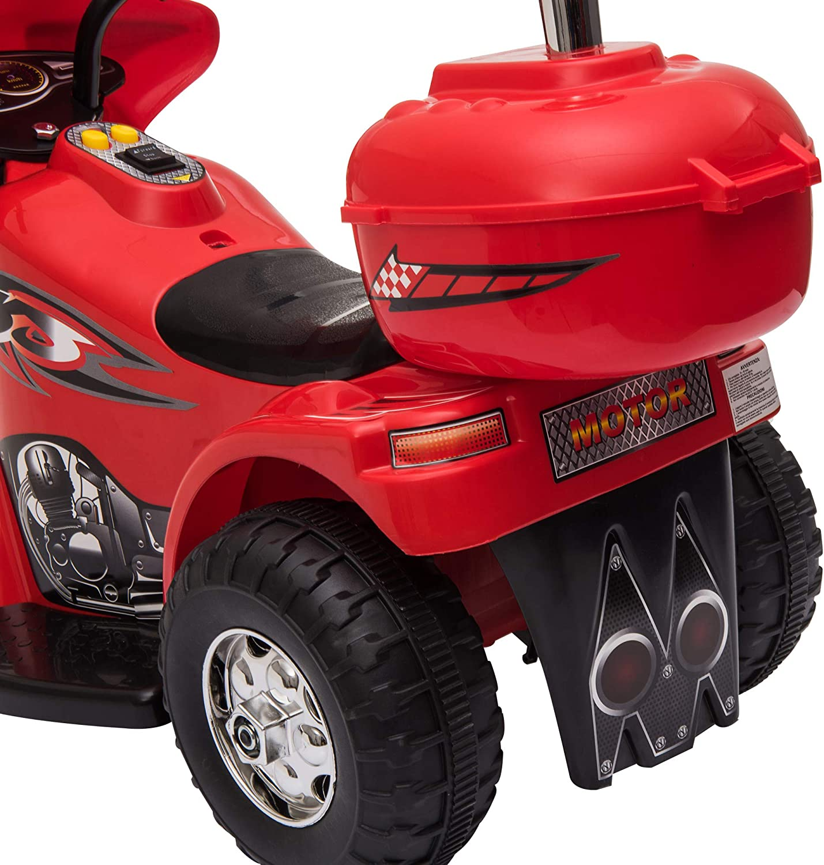 Moto Scooter /électrique pour Enfants mod/èle Policier 6 V 3 Km//h Fonctions Lumineuses et sonores Top Case Rouge