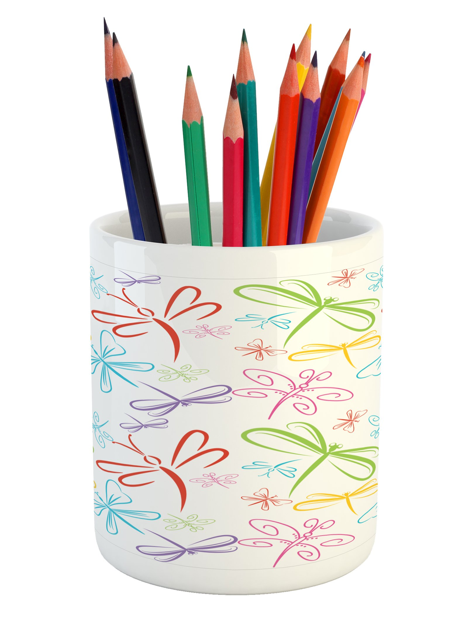 Ambesonne Dragonfly Pencil Pen Holder, Cute Insects Winged Freedom Symbol Colorful Animal Icons Childish Illustration, Printed Ceramic Pencil Pen Holder for Desk Office Accessory, Multicolor