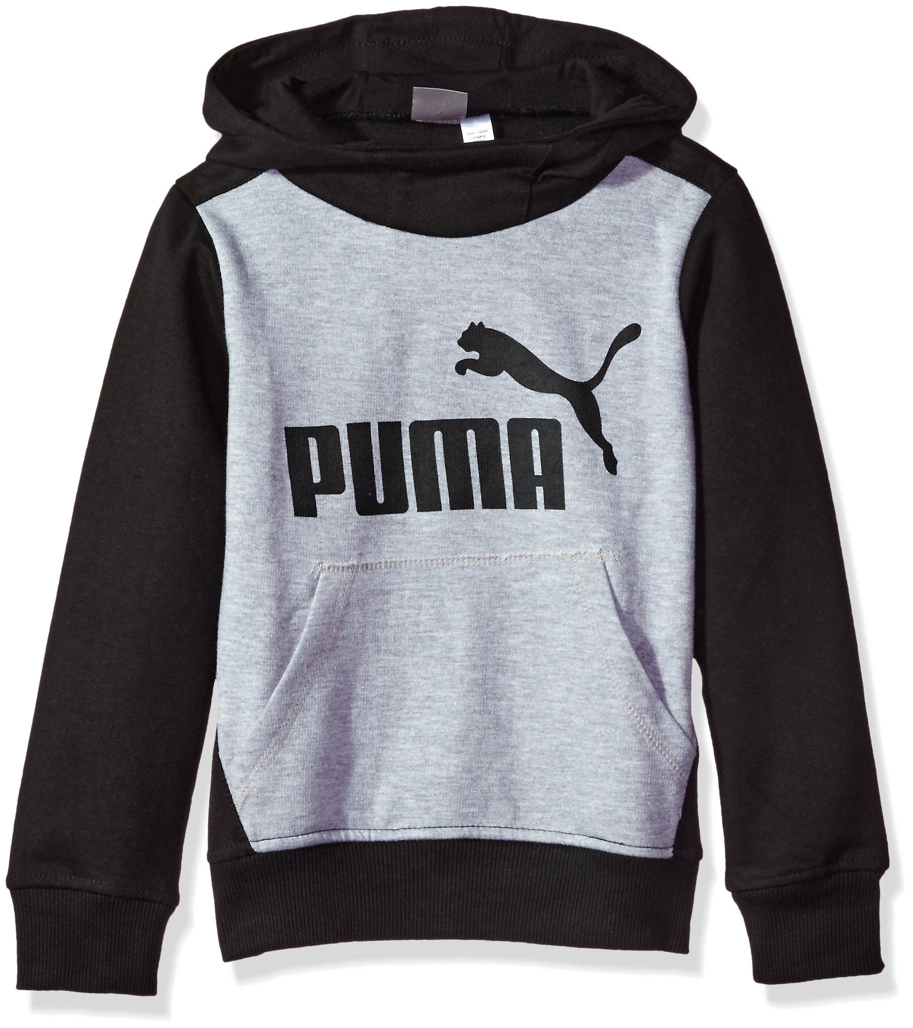 PUMA Little Boys' Pullover Hoodie, Light Heather Grey, 6