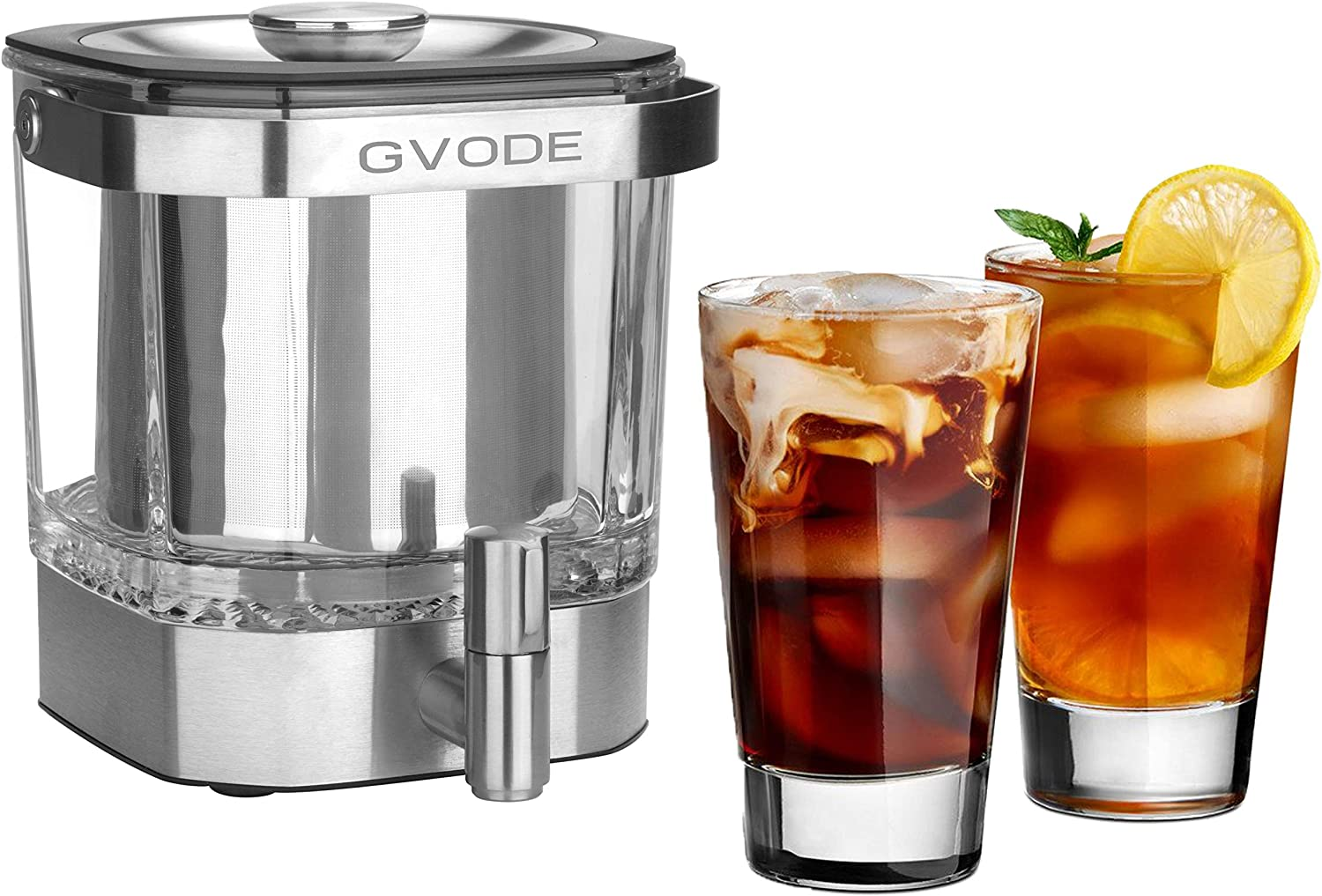Cold Brew Coffee Maker,42 Ounce, Premium Glass Pitcher plus Stainless Steel Filter,Iced Beverage Tea Infuser/Brewer/Dispenser