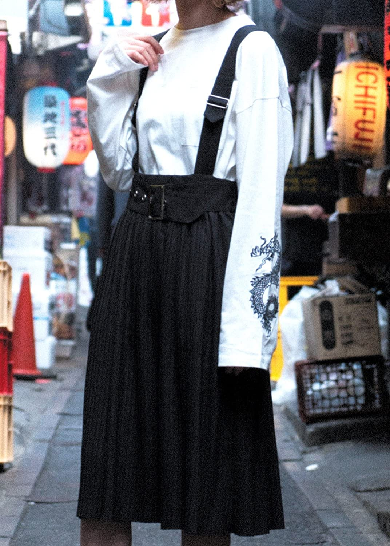 SPINNS ゆびが1ぽん サスペンダー付きスカート BLACK -