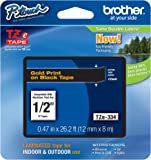"Brother Genuine P-touch Tze-334 Label Tape 1/2"" (0.47"") Standard Laminated P-touch Tape, Black on Gold, Laminated for Indoor or Outdoor Use, Water Resistant, 26.2 Feet (8M), Single-Pack (TZe334)"