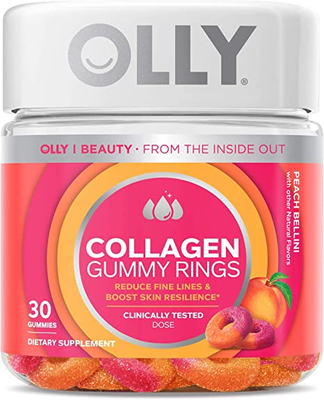 OLLY Collagen Gummy Rings, 2.5g of Clinically Tested Collagen, Boost Skin Elasticity & Reduce Wrinkles, Adult Supplement, Peach Flavor, 30 Count