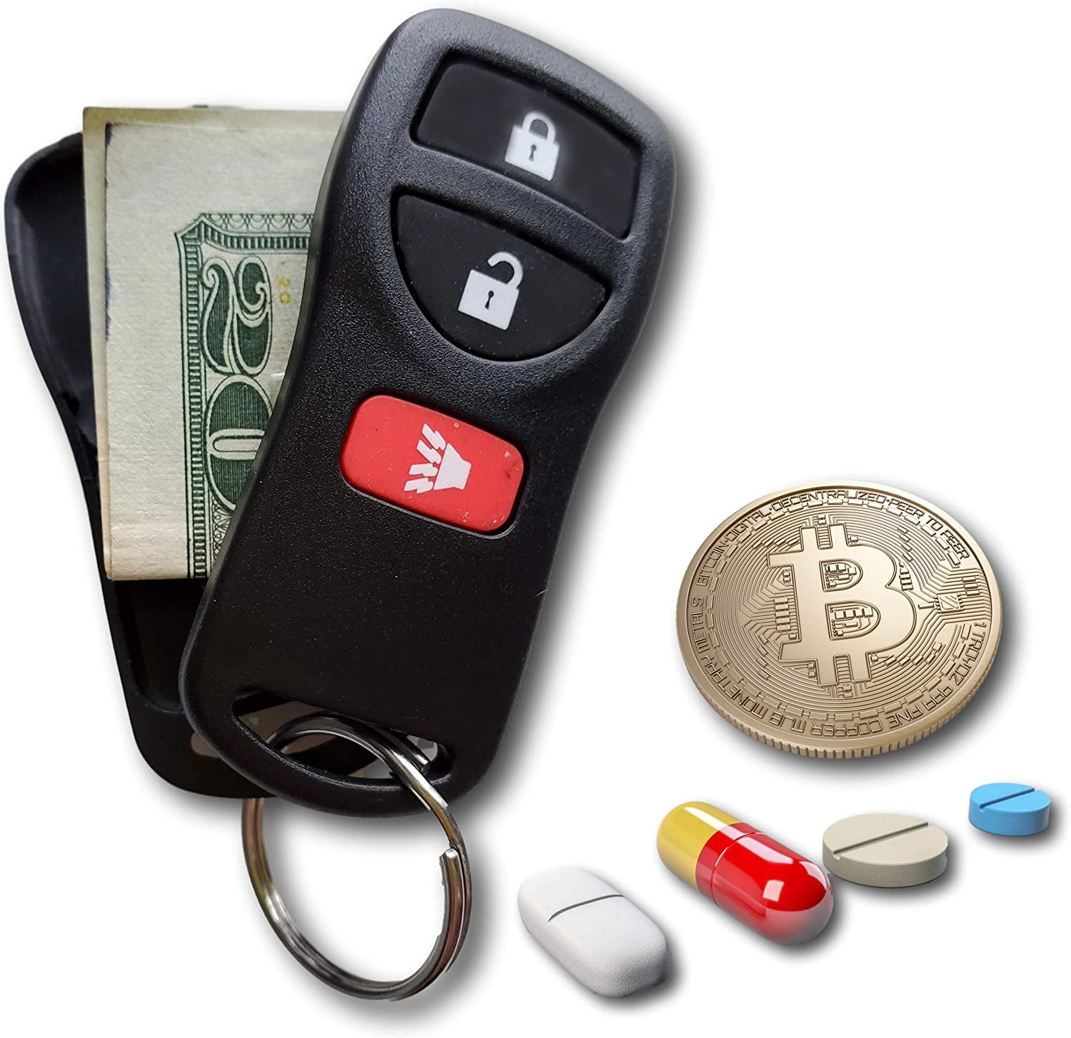 Key Diversion Safe by Stash-it, Hidden Secret Compartment, Stash Box, Discreet Decoy Car Key Fob to Hide and Store Money at Festivals and While Traveling, Valuables