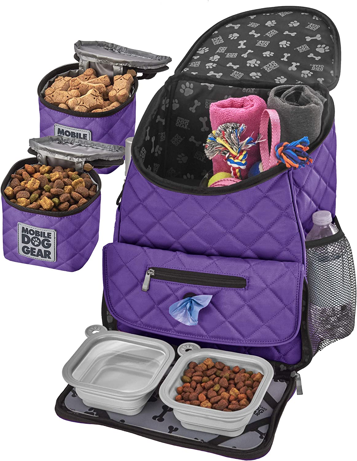 Mobile Dog Gear, Dog Travel Bag, Deluxe Quilted Weekender Backpack, Includes Lined Food Carriers and 2 Collapsible Dog Bowl, Purple