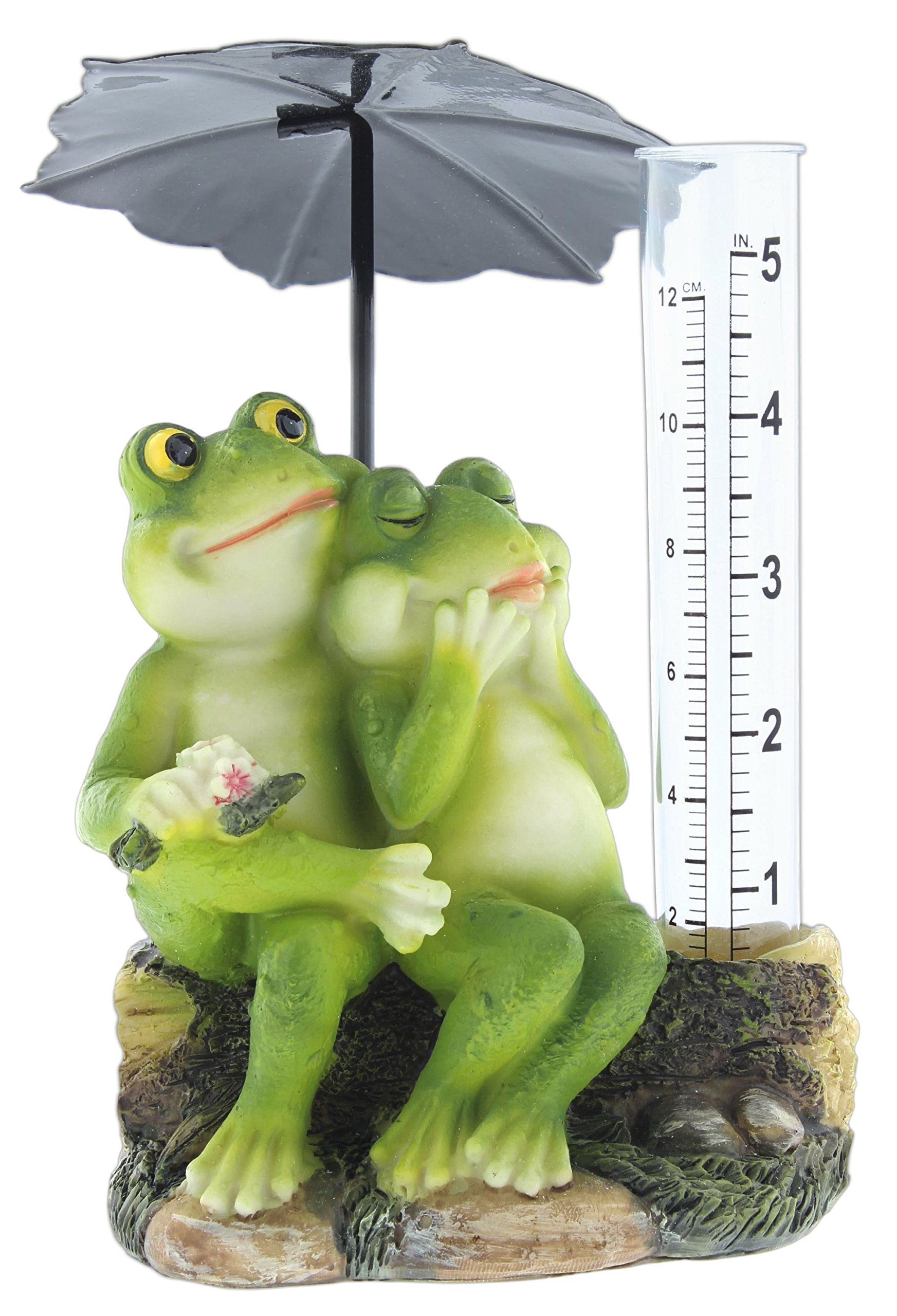 Mayrich 5'' Decorative Rain Gauge Cute Resin Frog Couple with Umbrella