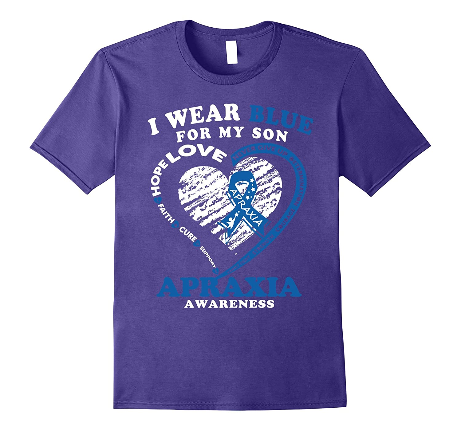 I Wear Blue For My Son Apraxia Awareness T-Shirt-Vaci