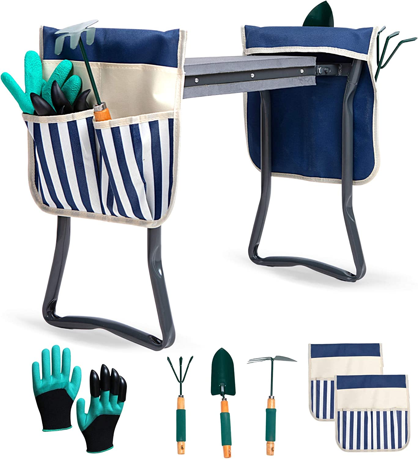 LYKO's Portable Garden Kneeler and Seat+2 Tool Bag-Gardening Bench W/ Free Garden Accessories Outdoor Tools Kit-Comfy Eva Foam Padded Garden Stool Kneeling Chair