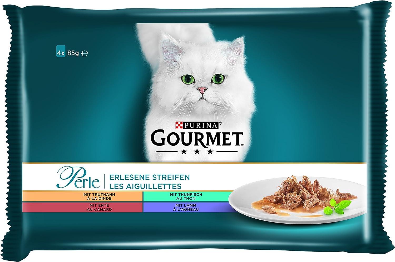 Purina Gourmet Perle - Minifiletes, Comida húmeda para Gatos, Surtido de variedades, 12 Unidades (12 x 4 Bolsas de 85 g)