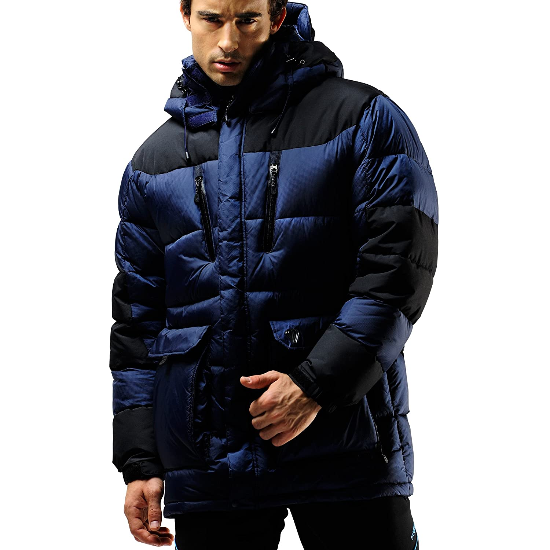 FUERZA Mens Winter Down Wellon Extremely Warm Parka Jacket - Dark Navy