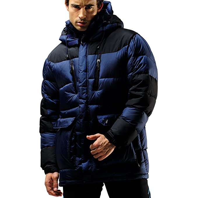 508324792a0 FUERZA Mens Winter Down Wellon Extremely Warm Parka Jacket - Dark Navy  (Small)