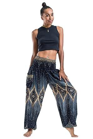 386ff01d9b9 Harem Pants Unisex Diamond Peacock Harem Pants for Men   Women in Black