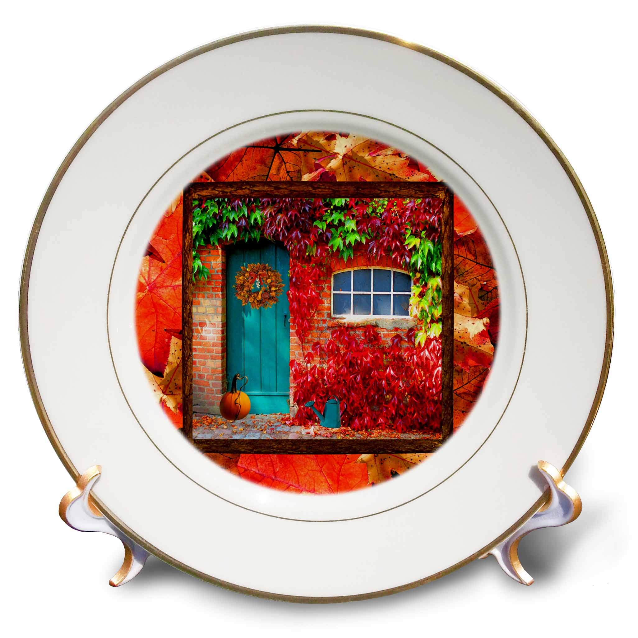 3dRose Beverly Turner Autumn Design - Aqua Door, Pumpkin, Watering Can, Window with Leaves, Autumn Colors - 8 inch Porcelain Plate (cp_290396_1)