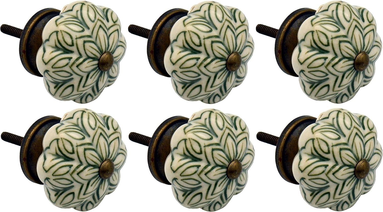 Poigné es en cé ramique - pour placard/tiroir - style floral vintage - vert olive - lot de 6 Nicola Spring