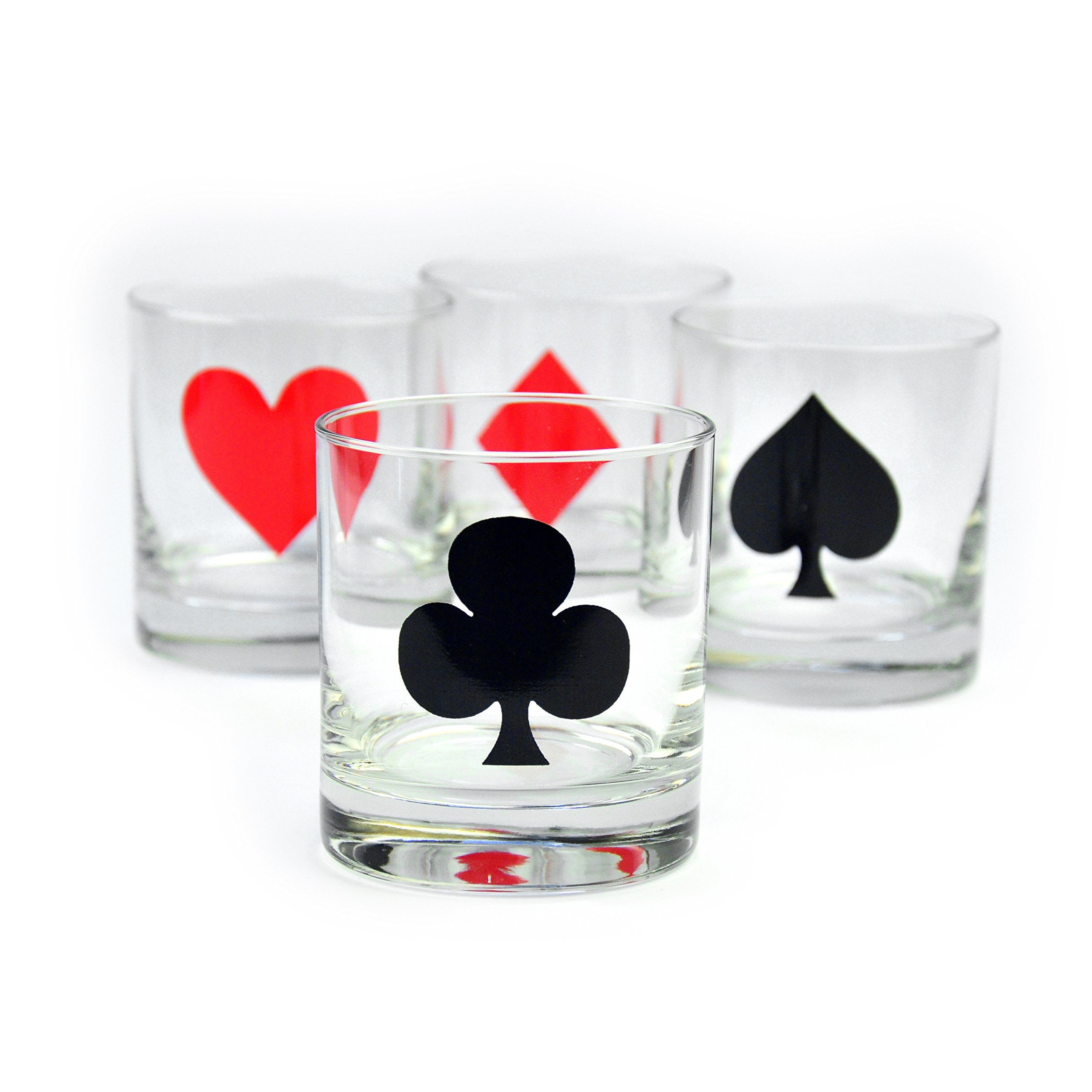 Card Suits Cocktail Glasses for Poker Night - Set of 4