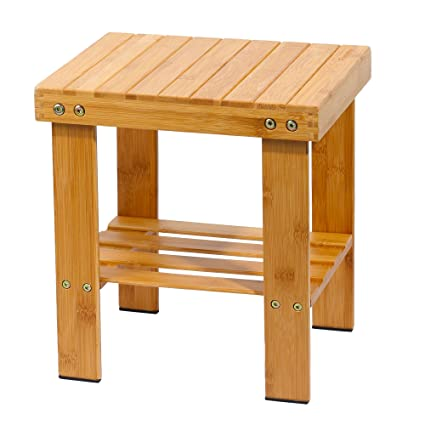 Famistar Bamboo Step Stool For Kids Children Adult,Anti Slip Lightweight  Chairs Seat With