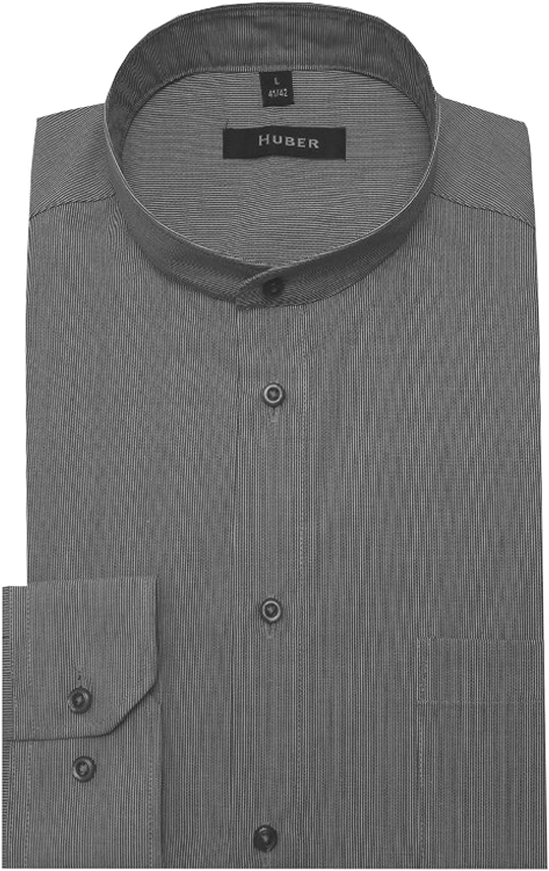 HUBER Stehkragen Hemd grau weiß gestreift bügelleicht HU-0031 Regular