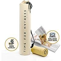 aGreenie Premium Yogatasche - Design Time for Matness - 100% Baumwolle - Yoga Bag -Tragetasche für Yoga, Pilates, Fitness und Gymnastik Matten - inkl. Ebook