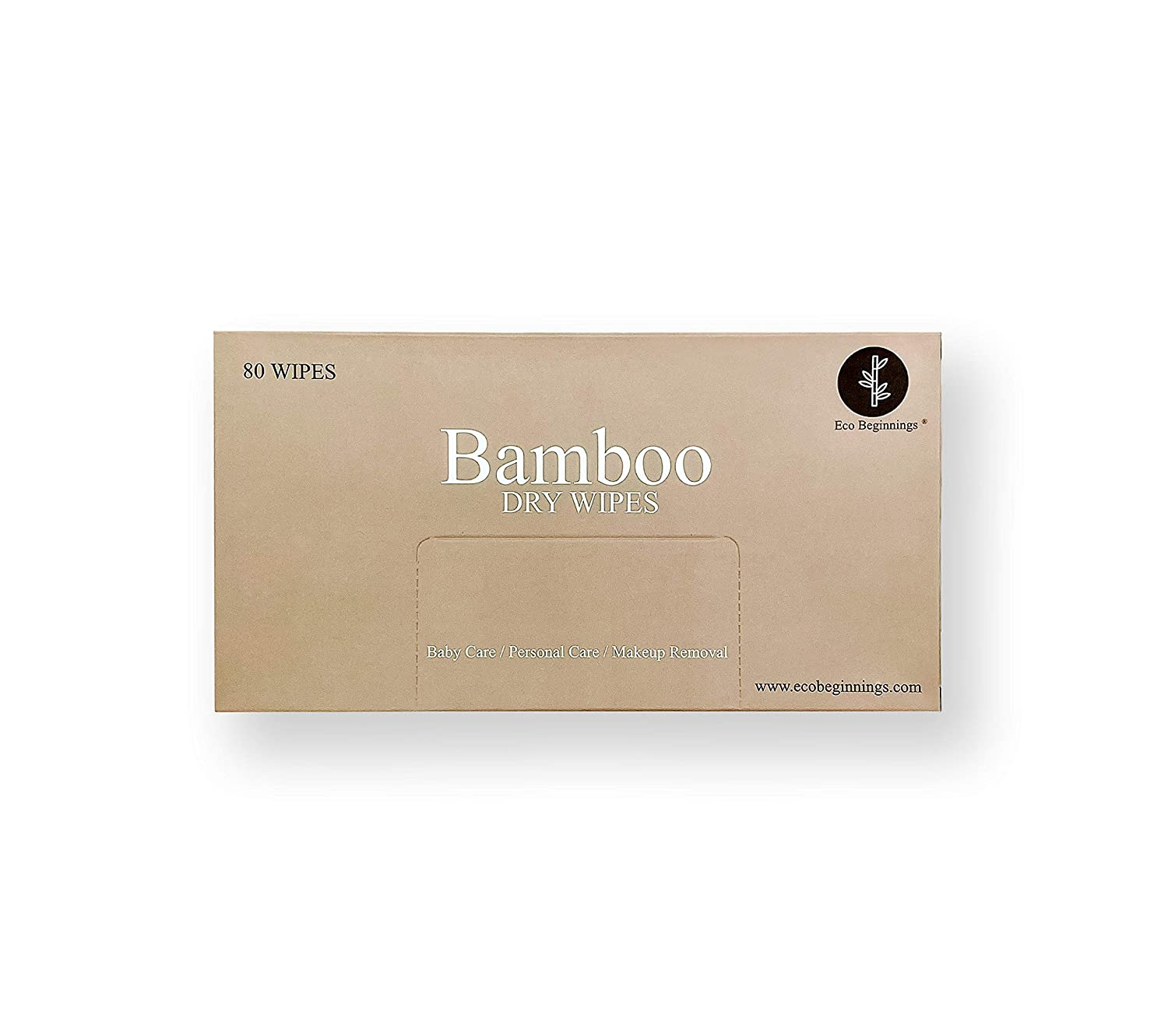 Eco Beginnings For Sensitive Skin 80 Disposable Pure Bamboo Dry Cleansing Cloths in a Plastic-Free Box