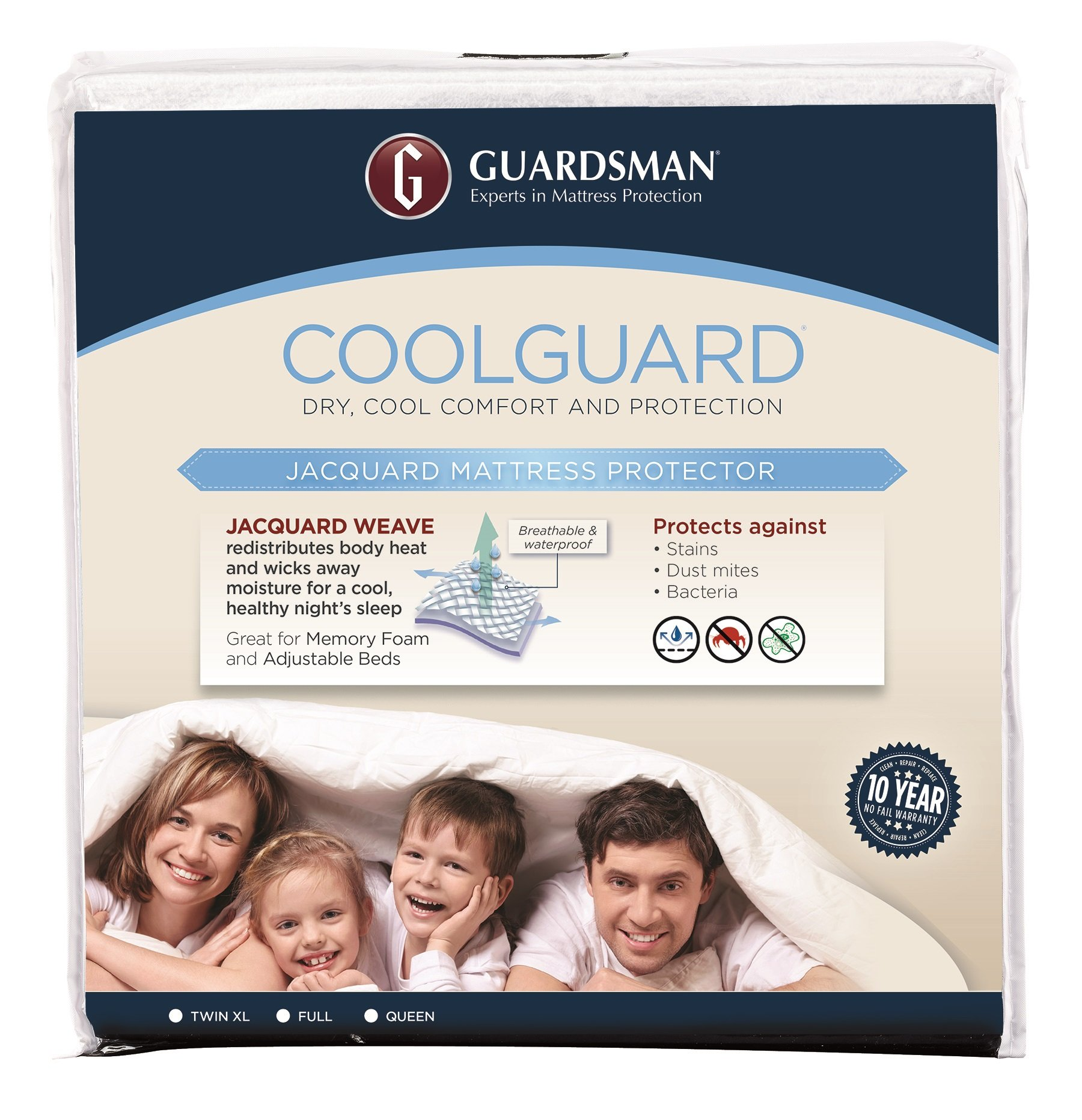 Guardsman Cool Guard Waterproof Mattress Protector - King - Keep Cool, Protect Against Stains, Spills, Mishaps - 10 Year Warranty - Reusable(Packaging May Vary)