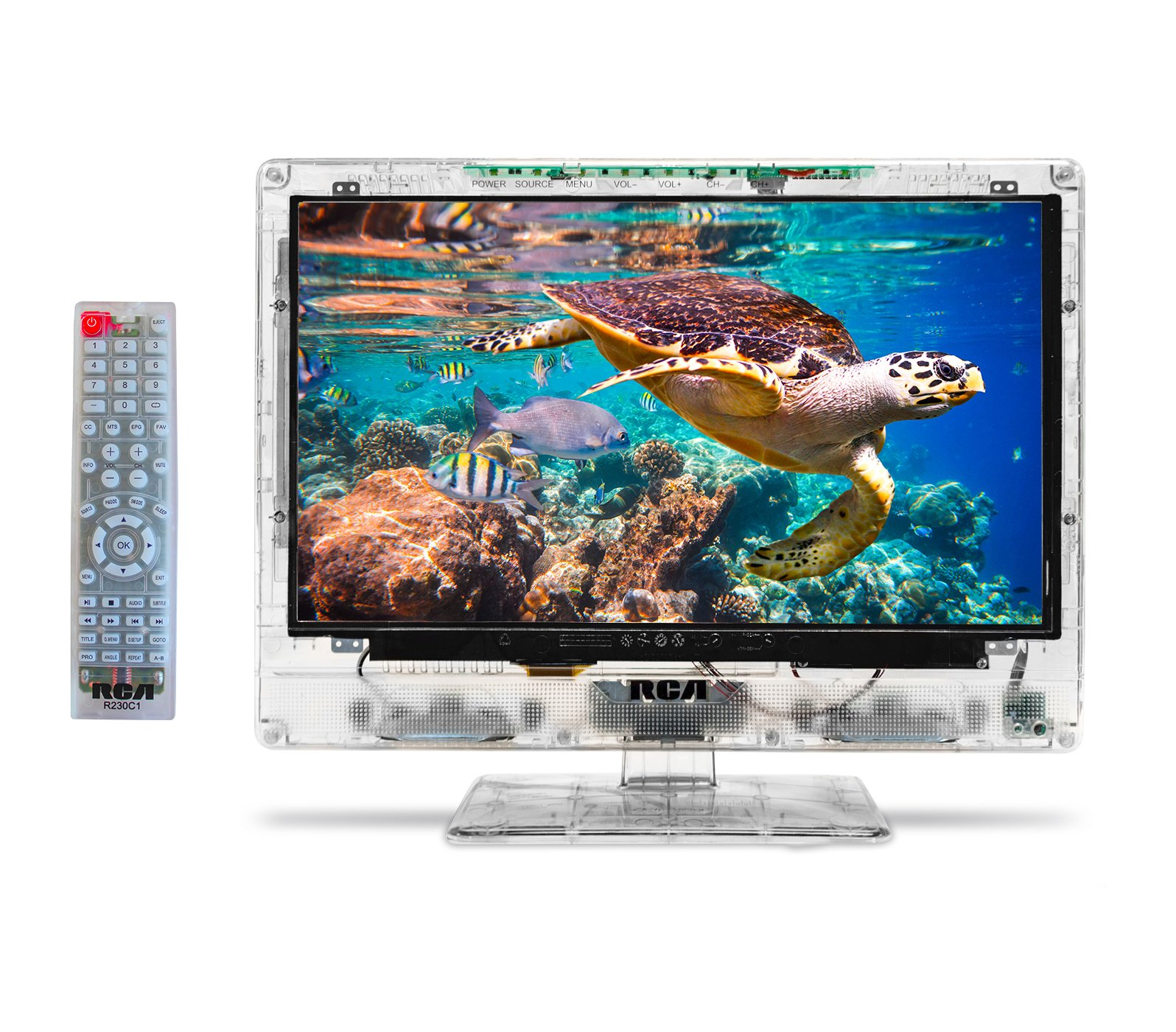 RCA 15'' Clearview HDTV   Transparent LED HD Television, High Resolution Wide Screen Monitor w/HDMI, VGA, RF Antenna Jack Inputs. Including Full Function Remote.