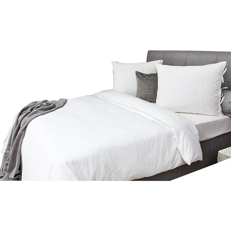 Heckett & Lane Luxusbettwäsche Charming Allan I 135 x 200 cm Kissenbezug 80 x80 cm I Edle Bettwäsche mit Prägeoptik und Schleifen I Weiss