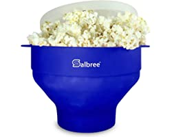 Original Salbree Microwave Popcorn Popper, Silicone Popcorn Maker, Collapsible Bowl - The Most Colors Available (Blue)