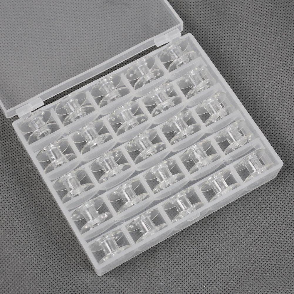 AllBeauty - 25x vacío Máquina de coser de plástico transparente Bobinas Bobina F Durable Con estuche de almacenamiento: Amazon.es: Hogar