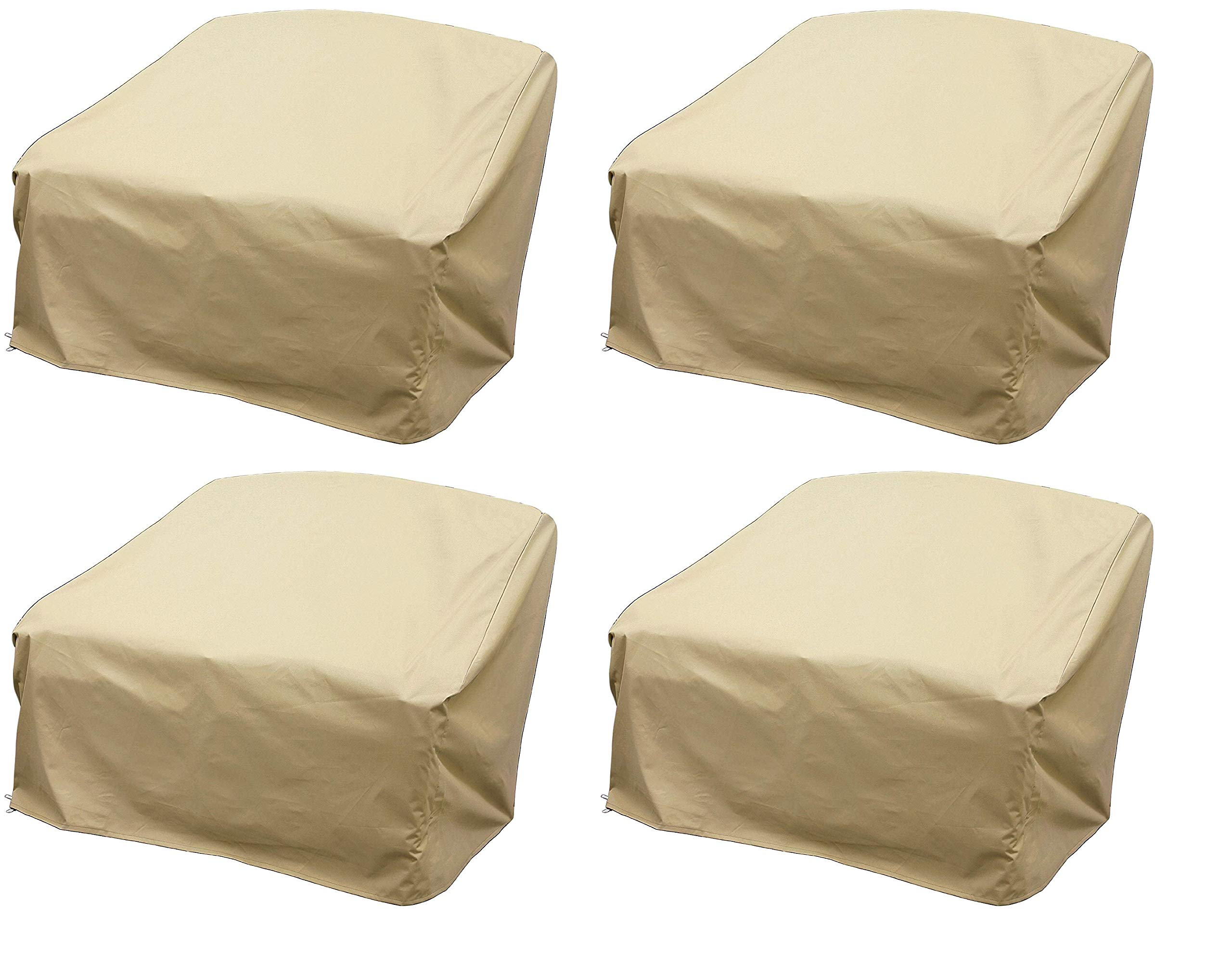 Modern Leisure 7466 Patio Love Seat Cover, Outdoor Patio Furniture Cover, Waterproof, 55 L x 33 W x 38 H inches, Tan (Pack of 4)