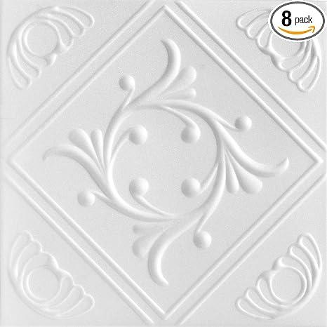 A La Maison Ceilings 1156 Diamond Wreath Styrofoam Ceiling Tile Package Of 8 Tiles Plain White
