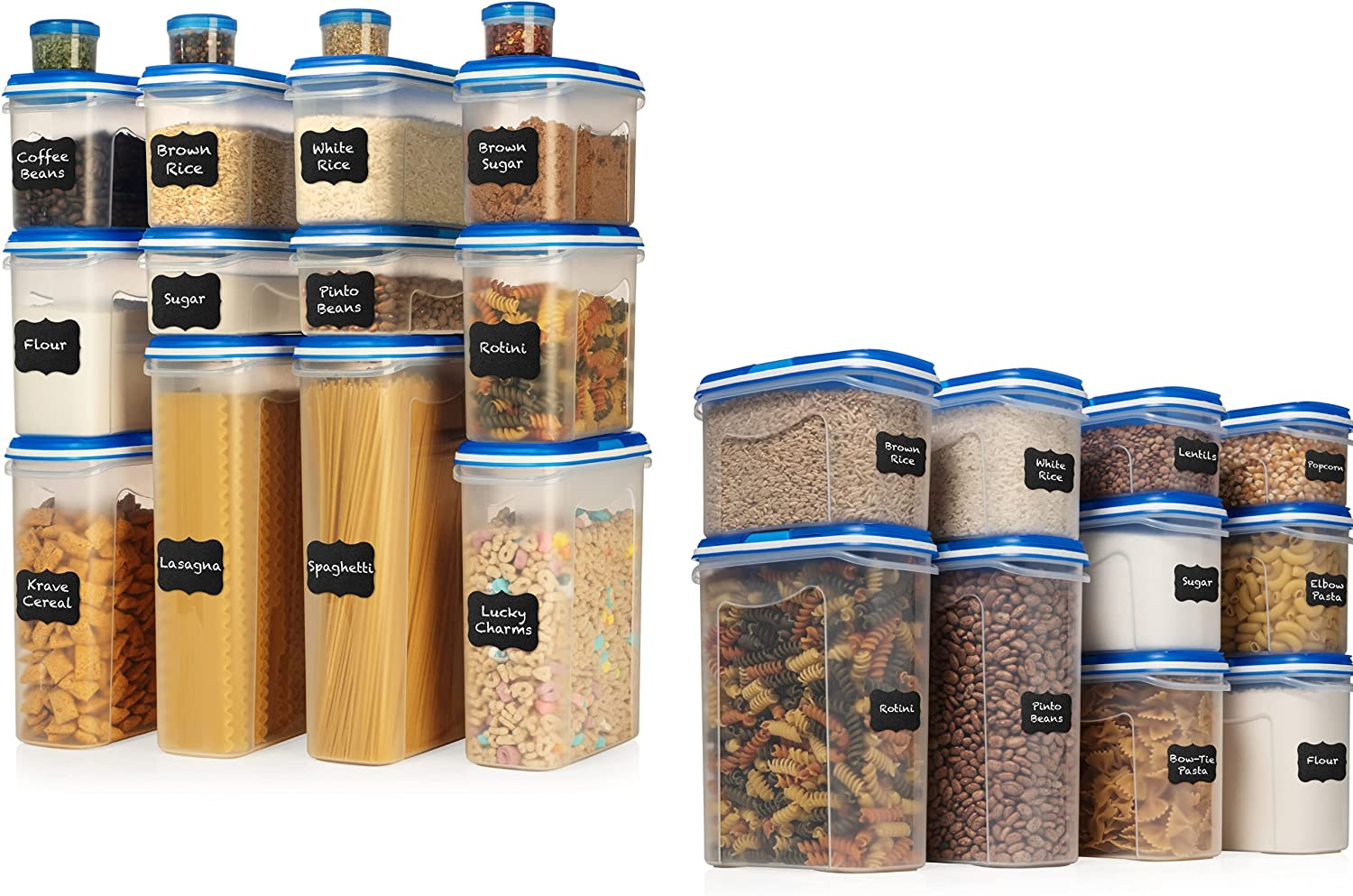LARGE SET 32 pc + 20 pc Airtight Food Storage Containers with Lids (26 Container Set) Airtight Plastic Dry Food Space Saver Boxes, One Lid Fits All - Stackable Freezer Refrigerator kitchen Storage Con
