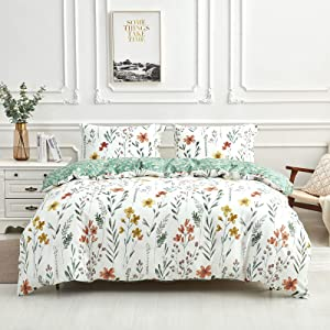 Floral Duvet Cover Sets King Size, 100% Cotton Flower Pattern Design 1Pcs Duvet Cover + 2Pcs Pillowcases, Gift for Girls Women and Teenagers