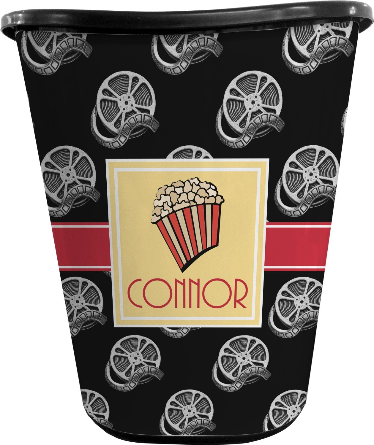 RNK Shops Movie Theater Waste Basket - Single Sided (Black) (Personalized)