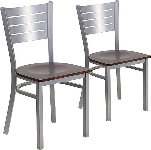 Editors' Choice: Flash Furniture 2 Pk. HERCULES Series Silver Slat Back Metal Restaurant Chair