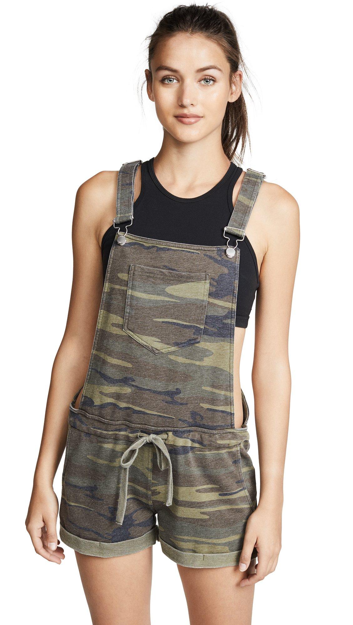 Z SUPPLY Women's The Camo Short Overalls, Camo Green, Small